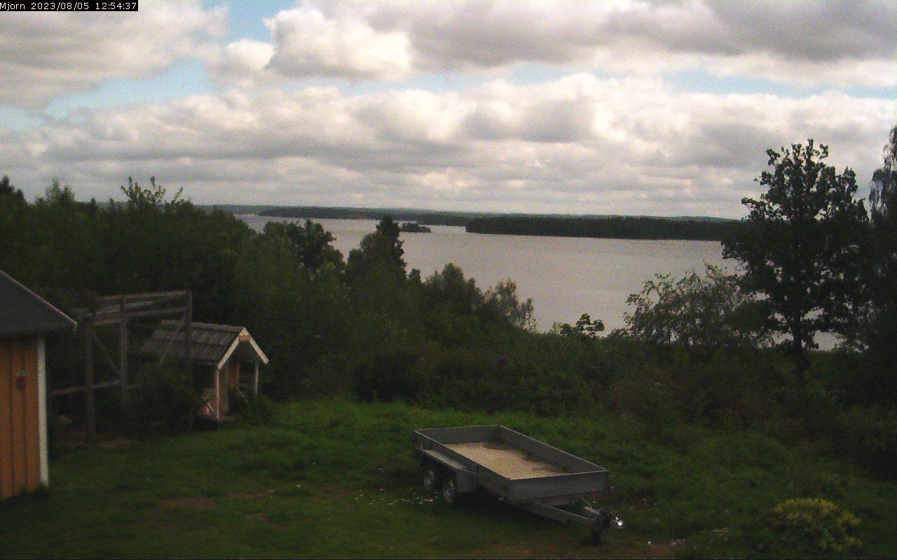 Webbkamera, vy över Mjörn, väder i Björboholm